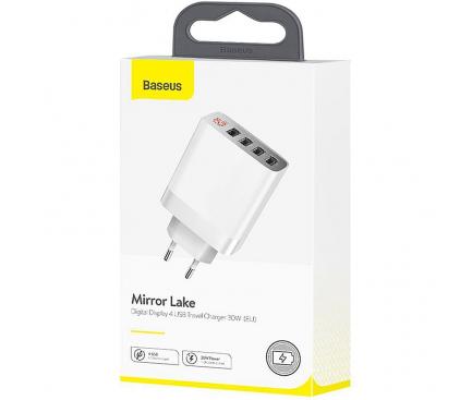 Incarcator Retea USB Baseus Mirror Lake Digital Display, 30W, 6A, 4 x USB, Alb, Blister CCJMHB-B02