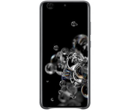 Husa Piele Samsung Galaxy S20 Ultra G988 / Samsung Galaxy S20 Ultra 5G G988, Leather Cover, Gri, Blister EF-VG988LJEGEU