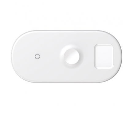 Incarcator Retea Wireless Baseus Qi, 18W, 3in1, Pentru telefon, Apple Watch si Apple AirPods, Alb, Blister WX3IN1-C02
