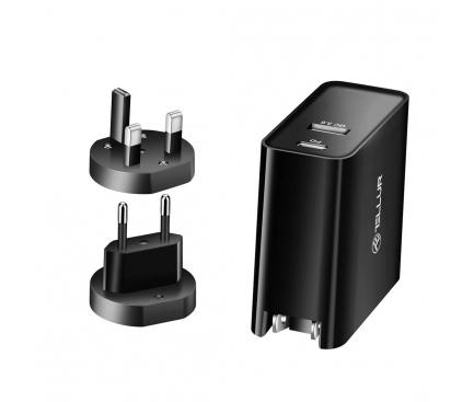 Incarcator Retea USB Tellur PDHC1, 48W, PD30W + QC3.0, 3 adaptoare priza (US, EU, UK), 2 X USB, Negru, Blister