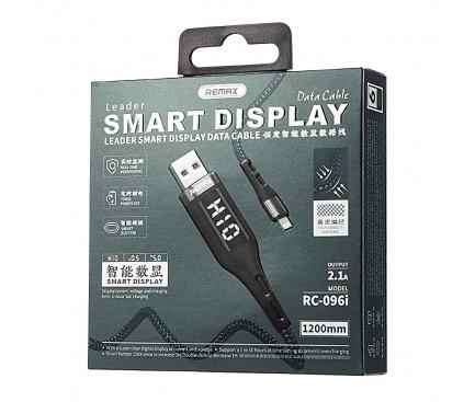 Cablu Incarcare USB la USB Type-C Remax Intelligent Digital Data Timer, 2,1A, RC-096a, 1.2 m, Negru, Blister