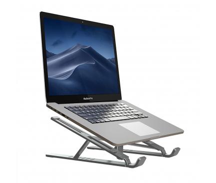 Suport laptop Tech-Protect Alustand, Universal, 16 inch, Aluminiu, Pliabil, Gri, Blister