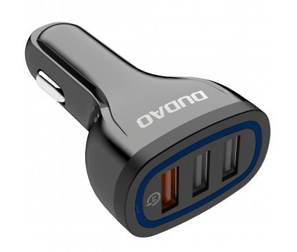 Incarcator Auto USB Dudao R7S, QC3.0, 2.4A, 18W, 3 x USB, Negru, Blister