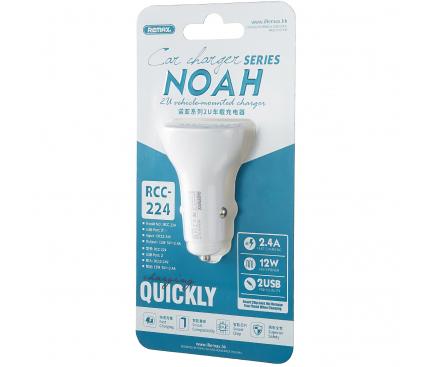 Incarcator Auto USB Remax Noah RCC-224, 2.4A, 2 X USB, Alb, Blister