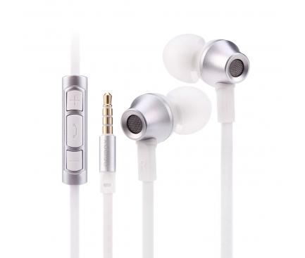 Handsfree Casti In-Ear Remax Stainless Steel, Cu microfon, 3.5 mm, Argintiu, Blister