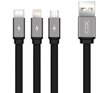 Cablu Incarcare USB - Lightning / USB Type-C / MicroUSB XO Design NB18, 3in1, 2.4A, 1.2 m, Negru