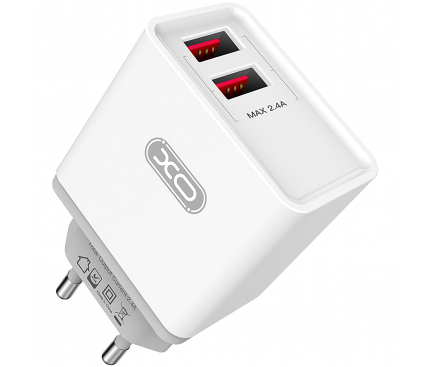 Incarcator Retea cu cablu USB Tip-C XO Design L31, 2.4A, 2 X USB, Alb, Blister