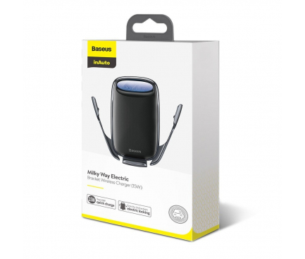 Incarcator Auto Wireless Baseus Milky Way, Negru, Blister WXHW02-01