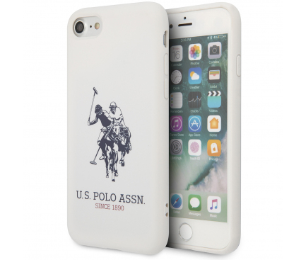Husa TPU U.S. Polo Big Horse pentru Apple iPhone 8 / Apple iPhone SE (2020), Alba, Blister USHCI8SLHRWH