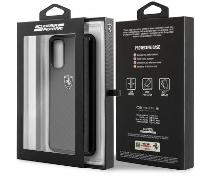 Husa Plastic Ferrari Carbon Heritage pentru Samsung Galaxy S20 G980 / Samsung Galaxy S20 5G G981, Neagra, Blister FEHCAHCS62BK