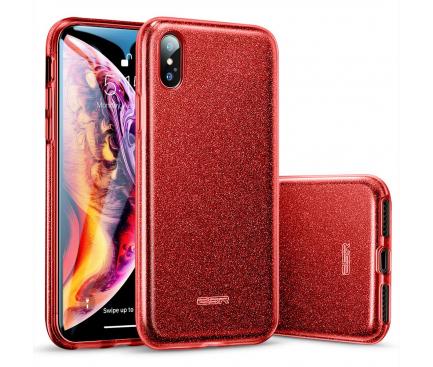 Husa TPU ESR Makeup Red Sparkle pentru Apple iPhone X / Apple iPhone XS, Rosie, Blister