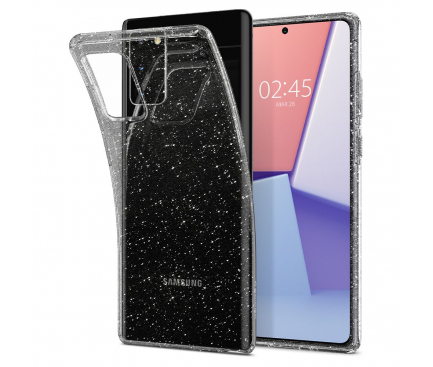 Husa TPU Spigen Liquid Crystal Glitter pentru Samsung Galaxy Note 20 N980 / Samsung Galaxy Note 20 5G N981, Transparenta, Blister ACS01416