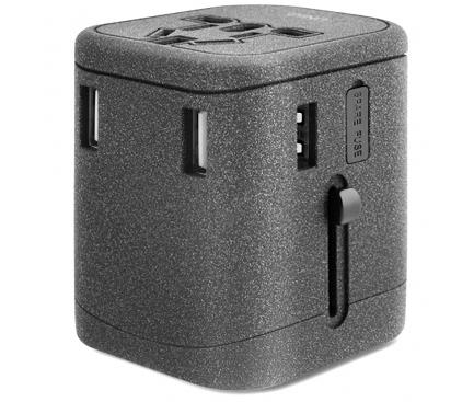 Adaptor priza UNIQ Voyage All in one, EU - UK - USA - AUS, 3 x USB - USB Type-C, Gri, Blister