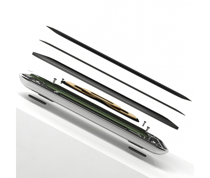 Incarcator Retea Wireless Pitaka Air Essential Crystal Sylver, Fast Wireless (10W / 7.5W), Fibra Aramida, Negru Argintiu, Blister AE1001