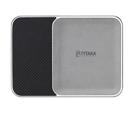 Incarcator Retea Wireless Pitaka Air Tray Obsidian Black, Fast Wireless (10W / 7.5W), Fibra Aramida, Cu Organizator, Negru, Blister ATR1003