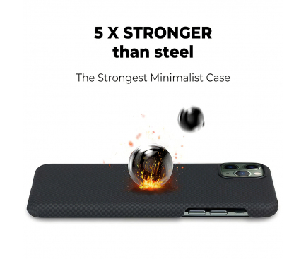 Husa Fibra Aramida Pitaka MagEZ pentru Apple iPhone 11 Pro, Car Case Magnet, Tesatura Patrata (Plain), Neagra Gri, Blister KI1101