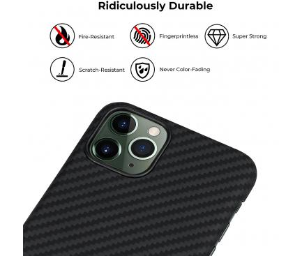 Husa Fibra Aramida Pitaka MagEZ pentru Apple iPhone 11 Pro, Car Case Magnet, Tesatura diagonala (Twill), Neagra Gri, Blister KI1102