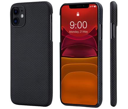 Husa Fibra Aramida Pitaka MagEZ pentru Apple iPhone 11, Car Case Magnet, Tesatura patrata (Plain), Neagra Gri, Blister KI1102R