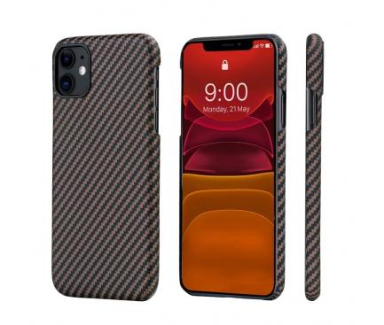 Husa Fibra Aramida Pitaka MagEZ pentru Apple iPhone 11, Car Case Magnet, Tesatura diagonala (Twill), Neagra Roz Auriu, Blister KI1106R