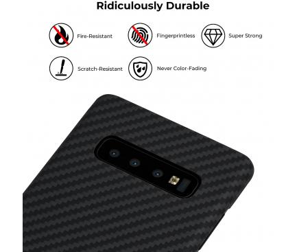 Husa Fibra Aramida Pitaka MagEZ pentru Samsung Galaxy S10 G973, Car Case Magnet, Tesatura diagonala (Twill), Neagra Gri, Blister KS1001