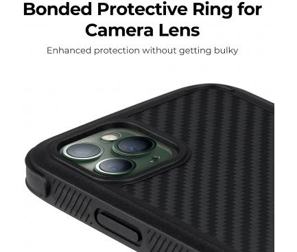 Husa Fibra Aramida Pitaka MagEZ Case Pro pentru Apple iPhone 11 Pro, Car Case Magnet, Tesatura diagonala (Twill), Neagra Gri, Blister KI1101P