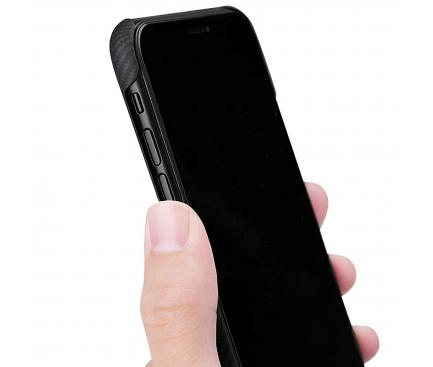 Husa Fibra Aramida Pitaka Air pentru Apple iPhone 11 Pro, Tesatura diagonala (Twill), Neagra Gri, Blister KI1101A