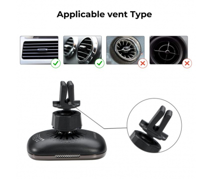 Incarcator Auto Wireless Pitaka MagEZ QI Car Vent, Fast Wireless (10W / 7.5W), Magnetic, Fibra Aramida, Negru, Blister CM3001Q