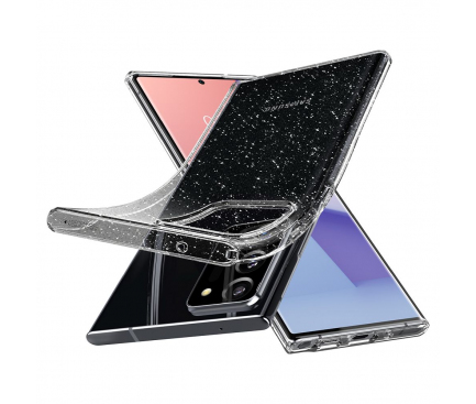 Husa TPU Spigen Liquid Crystal Glitter pentru Samsung Galaxy Note 20 Ultra N985 / Samsung Galaxy Note 20 Ultra 5G N986, Transparenta, Blister ACS01390