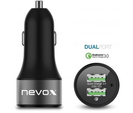 Incarcator Retea USB Nevox, QC 3.0, 36W, 2 X USB, Negru, Blister
