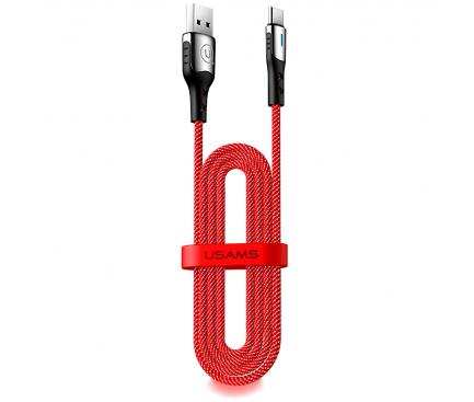 Cablu Date si Incarcare USB la USB Type-C Usams U27, 5A Flash Charge, 2 m, Rosu, Blister SJ320USB02
