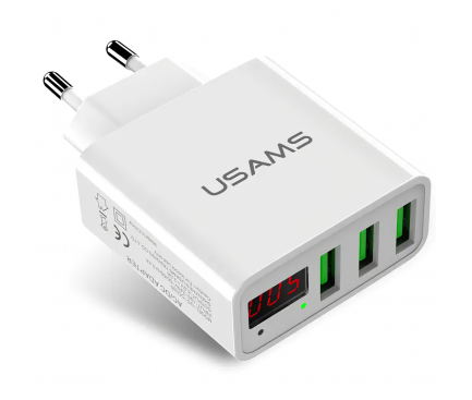 Incarcator Retea USB Usams CC35TC04, 3A LED, 3 x USB, Alb, Blister