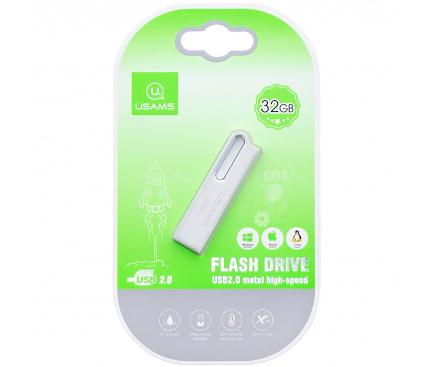 Memorie Externa Usams PenDrive, 32Gb, USB 2.0, Argintie, Blister ZB98UP01