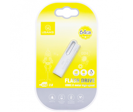 Memorie Externa Usams PenDrive, 64Gb, USB 2.0, Argintie, Blister ZB99UP01