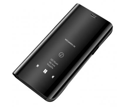 Husa Plastic OEM Clear View pentru Xiaomi Redmi 9, Neagra, Blister