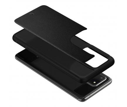 Husa Piele Spigen Ciel Leather Brick pentru Samsung Galaxy S20 Ultra G988 / Samsung Galaxy S20 Ultra 5G G988, Neagra, Blister ACS00729