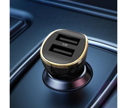 Incarcator Auto USB XO Design CC-19, 2.4A, 2 X USB, Negru, Blister