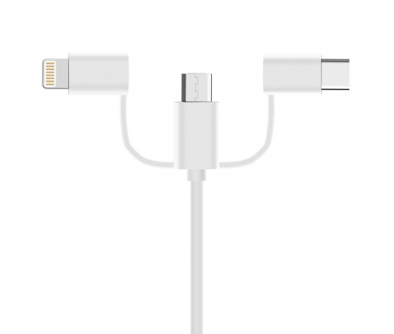 Cablu Date si Incarcare USB - Lightning / USB Type-C / MicroUSB OEM, 1 m, Alb, Bulk