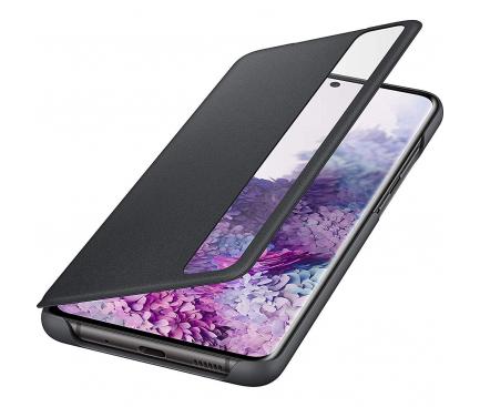Husa TPU Samsung Galaxy S20 Plus G985 / Samsung Galaxy S20 Plus 5G G986, Clear View, Neagra, Resigilat, Blister EF-ZG985CB