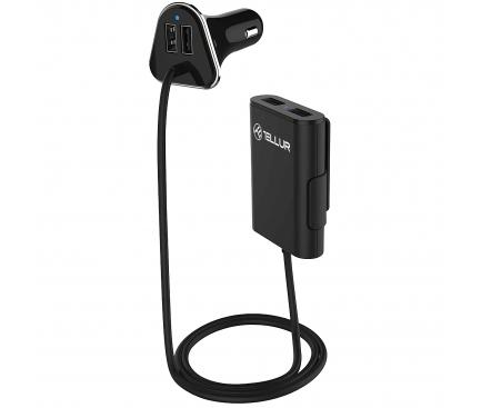 Incarcator Auto USB Tellur cu extensie, 9.6A, Lungime cablu 1.8m, 4 x USB, Negru, Blister TLL151141