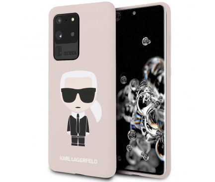 Husa TPU Karl Lagerfeld Ikonik Full Body pentru Samsung Galaxy S20 Ultra G988 / Samsung Galaxy S20 Ultra 5G G988, Roz KLHCS69SLFKPI