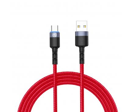 Cablu Date si Incarcare USB la USB Type-C Tellur LED, 3A, 1.2 m, Rosu TLL155334