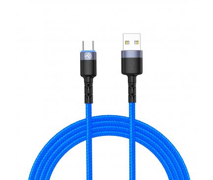 Cablu Date si Incarcare USB la USB Type-C Tellur LED, 3A, 1.2 m, Albastru TLL155344
