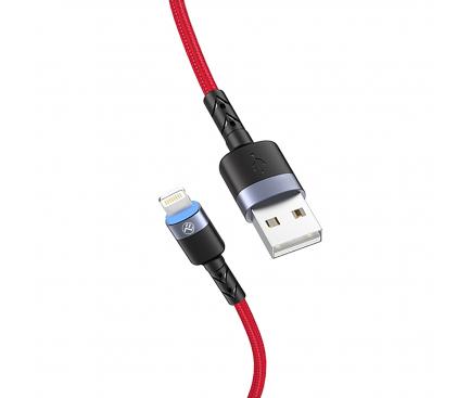 Cablu Date si Incarcare USB la Lightning Tellur LED, 3A, 1.2 m, Rosu, Blister TLL155354