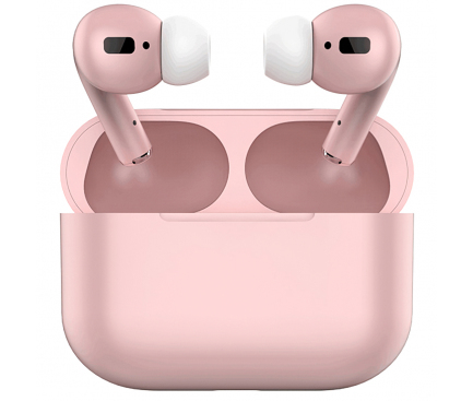Handsfree Casti Bluetooth OEM Air Pro i20, TWS, Cu suport incarcare, Roz, Blister