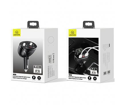 Incarcator Auto USB Usams US-CC099, cu 2 prize bricheta auto, 96W, 2 X USB, Negru, Blister CC99TC01
