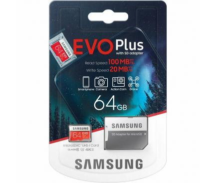 Card Memorie MicroSDXC Samsung, 64Gb, Clasa 10 / UHS-1 U1, cu mSD si Adaptor, Blister MB-MC64HA/EU