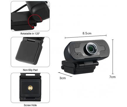 Camera Web Tellur Basic, FULL HD, 1080P, Neagra TLL491061