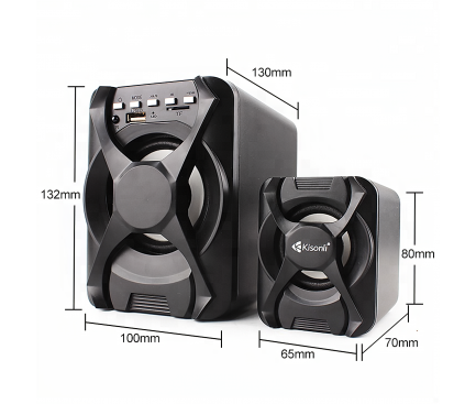 Boxa Bluetooth Kisonli U-2500BT, Sistem audio 2.1, 5 W + 2 x 3 W, Neagra