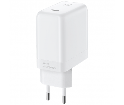 Incarcator Retea USB OnePlus, 1 X USB Type-C, 65W, Warp Charge, Alb 5481100042