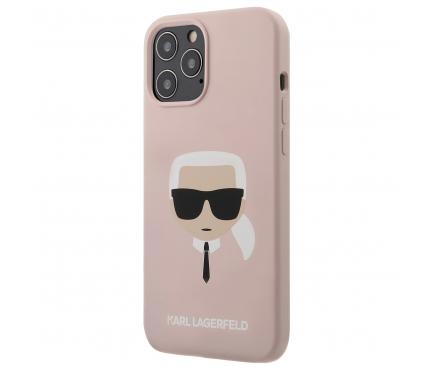 Husa TPU Karl Lagerfeld Head pentru Apple iPhone 12 / Apple iPhone 12 Pro, Roz, Blister KLHCP12SSLKHLP